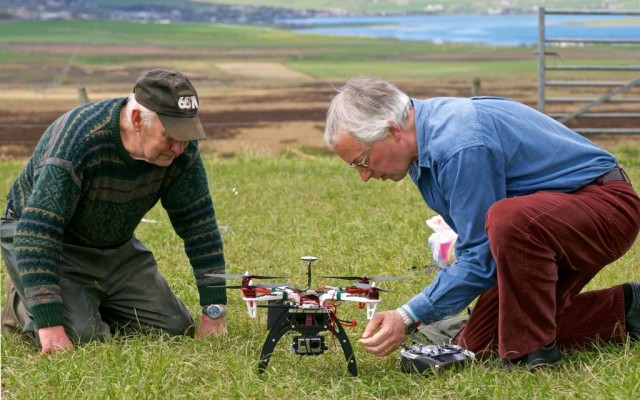 Preparing for some aerial photography at Smerquoy, Mainland Orkney (May 2013) (copyright Michael Sharpe)